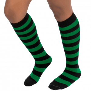 Black & green stripe socks