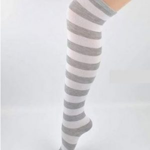 Grey & white stripe knee high socks