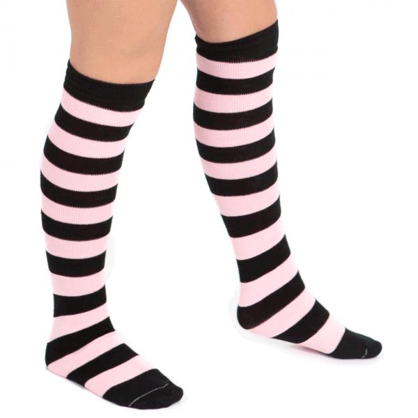 Pink & black long knee socks