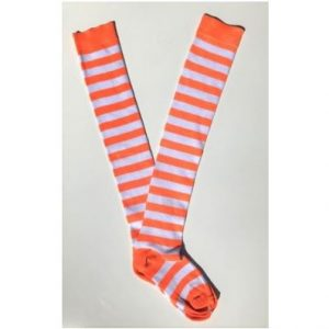 Neon orange & white stripe socks