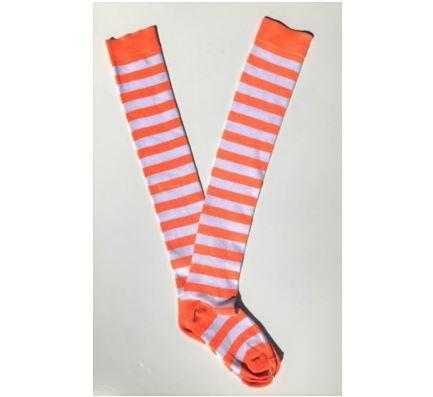 Neon orange & white stripe socks