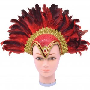 Red & gold showgirl headpiece