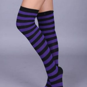 Purple & black knee high socks