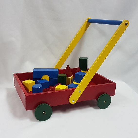 Red trolley with blocks