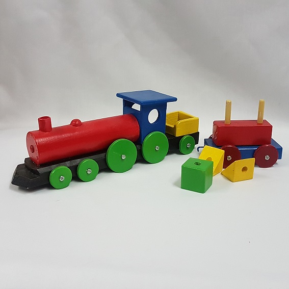 Wooden toy train with blocks