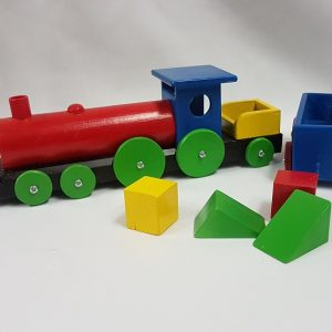 Toy train with wooden blocks