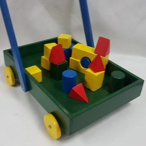 Trolley with wooden blocks