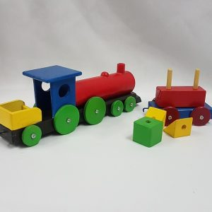Wooden toy train with carriage
