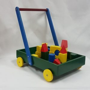 Wooden toy trolley with blocks