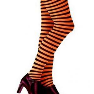 Orange & black stripe tights