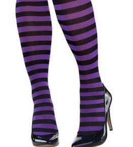 Purple & black stripe tights