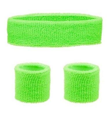 Neon green headband & wristband set