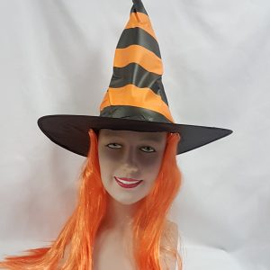Stripe witch hat with orange hair