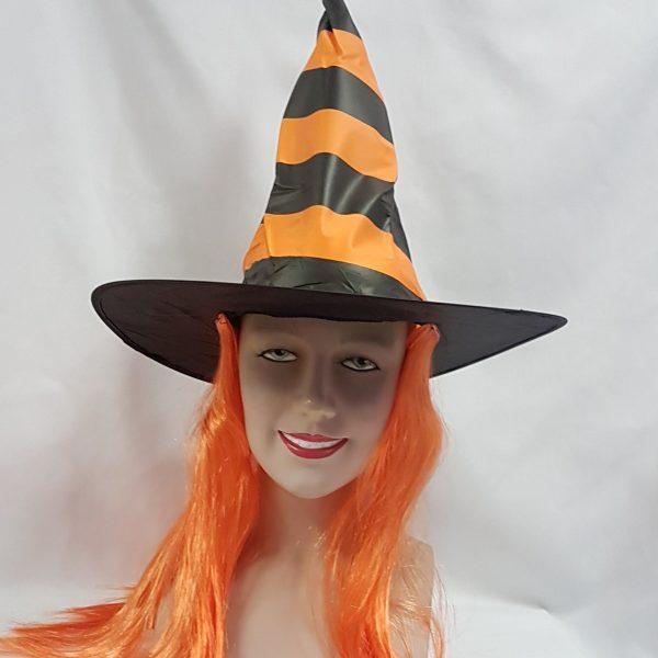 Stripe witch hat with orange hair
