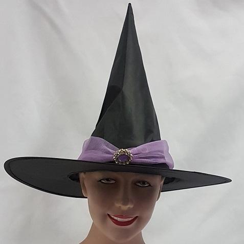 Witch hat with mauve chiffon band