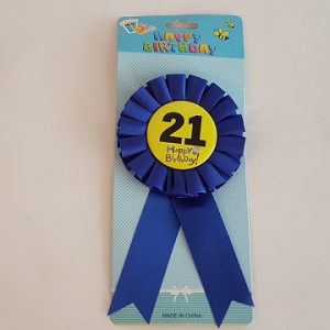 21 Happy Birthday badge - blue