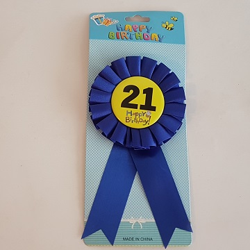 21 Happy Birthday badge - blue