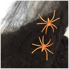 BLack spider web with orange spiders
