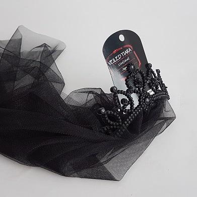 BLack veil with tiara