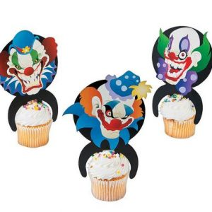 Creepy clown cake picks