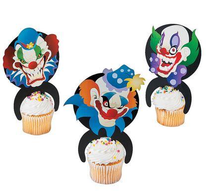 Creepy clown cake picks