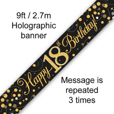 Black & gold 18th birthday banner