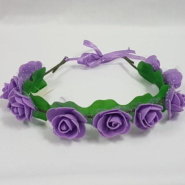 Flower headdress with mauve flowers