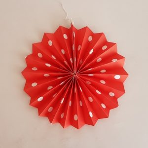 Red polka dot fan decoration