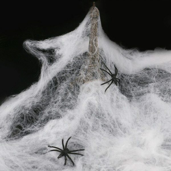 White spider web with black spiders