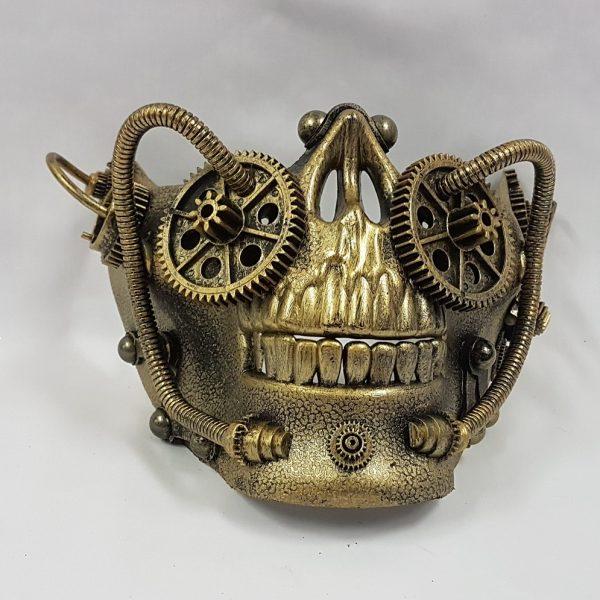Steampunk skull mask - gold half face skull