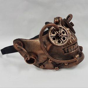 Steampunk skull half face skull copper