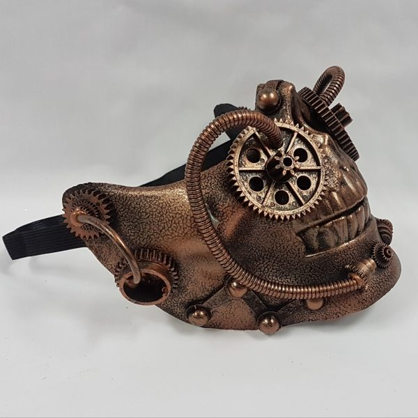 Steampunk skull half face skull copper