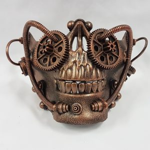 Steampunk mask - copper half skull