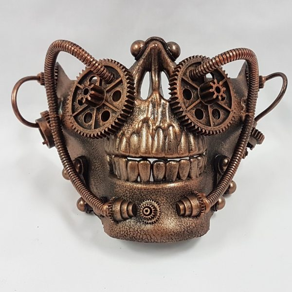 Steampunk mask - copper half skull