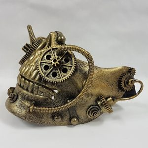 Steampunk mask gold side view
