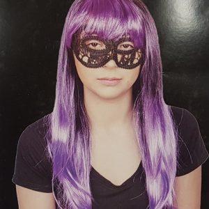 Long purple wig with fringe