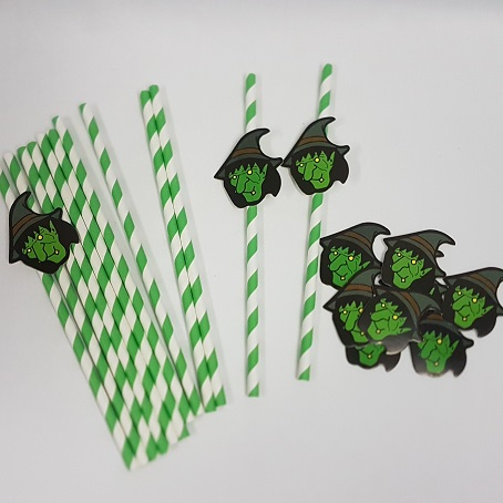 Witch decorated straws