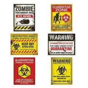 Zombie quaratine signs