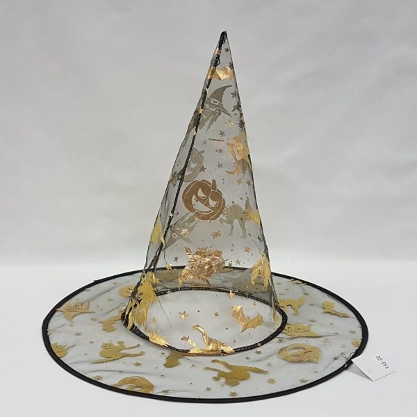 Witch hat with gold Halloween designs