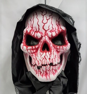 Hanging animated demon skull