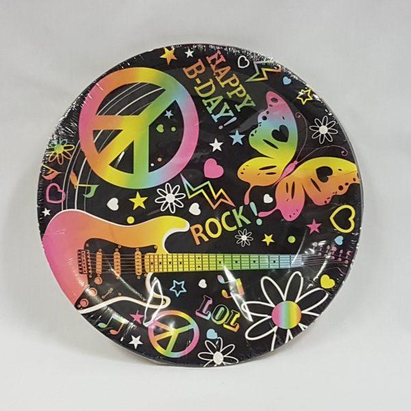 Rock birthday paper plates
