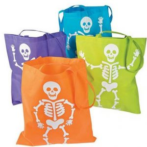 Skeleton trick or treat bags
