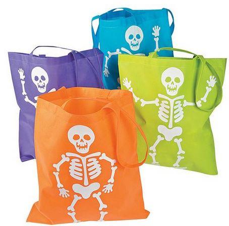 Skeleton trick or treat bags