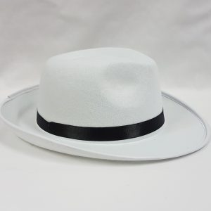 White gangster hat with black band