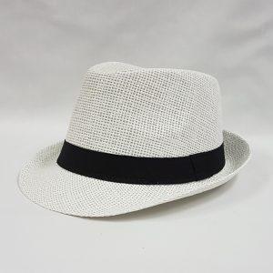 White straw fedora with black band