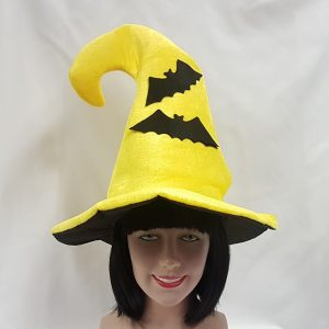 Yellow witch hat with bats