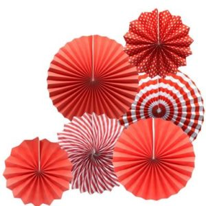 Paper decorating fans red