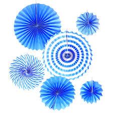 Blue decorating fans