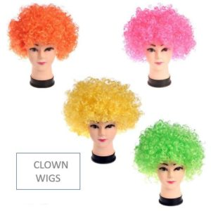 Clown wigs assorted colours